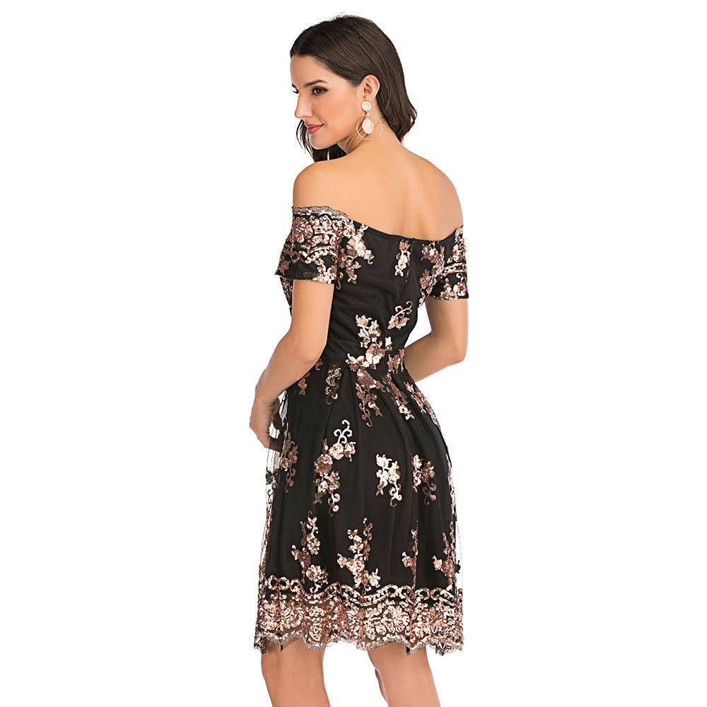 Sexy Bling Black Gold Sequins summer dress women luxury club Party Backless dresses elegant Off Shoulder bodycon dress vestido