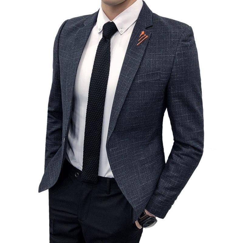 2019 new men's striped suit jacket S-5XL blue black red male coat wedding party Slim Blazer