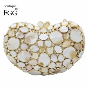 Natural White Shell Crystal Clutch Evening Bags For Women Wedding Party Dinner Handbags and Purses Bridal Diamond Clutches Bag