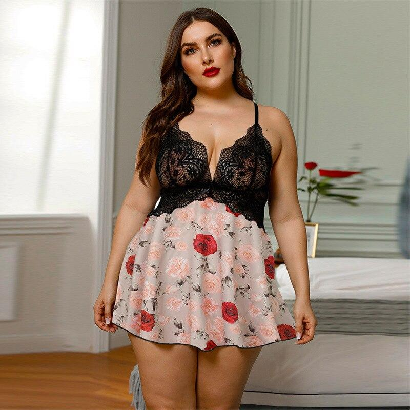 Plus Size Sexy Lingerie Baby Doll Erotic Underwear Lace Floral Lingerie Sexy Hot Erotic Babydoll Sexy Dress Ladies Nightwear