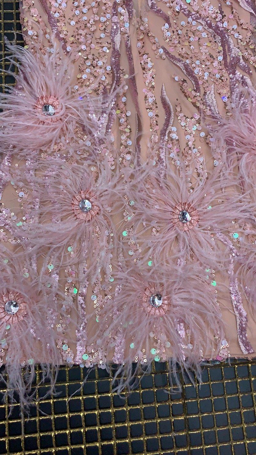 High Quality Pink Mini Feather V-neck Fashion Bodycon Dress Night Club Party Bodycon Dress