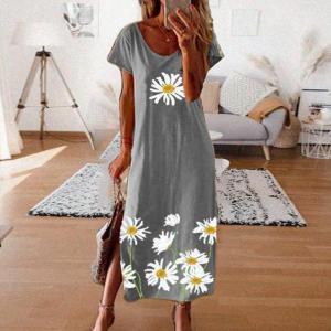 2020 NEW Women O Neck Long Dress 2020 Summer Print Sexy Short Sleeve Boho Beach Casual Loose A-Line Dress Vestidos Plus Size