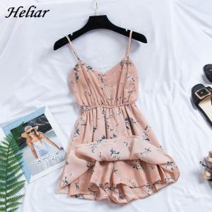 HELIAR Women Playsuits Lady Floral Printed Spaghetti High Waist Rompers With Button Ruffled Party Cloth Summer Female Playsuit