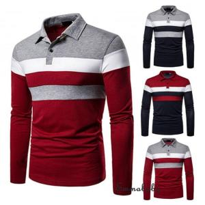 Mens Casual Shirts Long Sleeve Warm Stretch Slim Basic Shirt Striped Print  Long Sleeve Shirt S -2XL