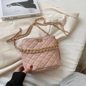 Lattice Chain Tote Bucket Bag 2020 Summer New High-quality PU Leather Women's Designer Handbag Chain Shoulder Messenger Bag