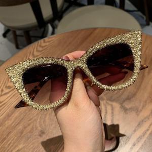 Oversized sunglasses women handmade bling cat eye sunglasses Ladies vintage clear reading glasses fashion shades Oculos