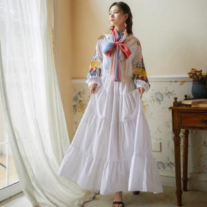 Runway Indie Folk Peacock Embroidery Dress Women Long Lantern Sleeve V-Neck High Waist Lace Up Cotton Maxi Dresses Silk Scarf