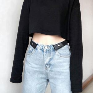 New Jeans Women's Punk Style Buckle-free Belt Dress Ladies Slim Sports Trend Comfortable Elastic New No Buckle Belt