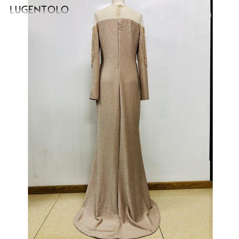 Lugentolo Party Dress Women Sexy Sequined Tassel Slim High Waist Strapless Solid Sheath 2020 Summer Fashion Womens Maxi Dress
