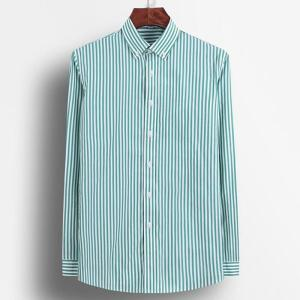 Men's Long Sleeve Standard-fit Pinpoint Striped Dress Shirt Pocket-less Design Casual Button Down Easy-care Cotton Shirts