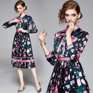 Banulin 2019 Autumn Runway Designer Elegant Pleated Dress Women's Long Sleeve Floral Printed Dress Dot Print Bow Vestidos