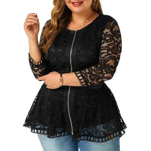 L-6XL Elegant Ladies Lace Tops 3/4 Sleeve Hollow Out Spring Shirts 2020 Female Slim Fit Black Tee Shirt femme Women Clothes D30