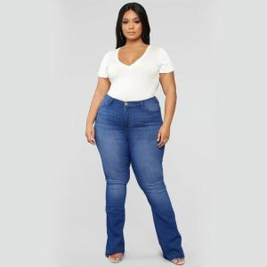 Large Size Jeans for Women Big Ass Loose Denim Pants Plus Size Wide Leg Pants Stacked Flare Jeans Baggy Fat Mom Jeans High Waist
