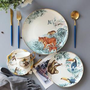 Ceramic Tableware Chinese Skeletal Animal Dessert Fruit Plate Home Porcelain Decoration