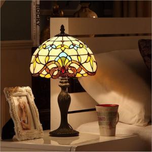 WOERFU Diffany Table Lamp 20cm Resin Base E27 Bedroom Bedside Lamp Fashion Retro Table Lamps