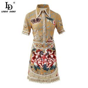LD LINDA DELLA Retro Women Set Lapel Character Rose Flower Print Gorgeous Tassel Diamond Ladies Mini Skirts 2 Two Pieces Suits