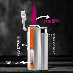 HONEST New Jet Torch Lighter Turbo Metal Lighter Visible Gas Window Windproof Inflated Cigarette Cigar Lighters Gadgets For Man
