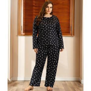 Ladies autumn winter plus size pajamas set for women home wear suit long sleeve black print T-shirt and pants 4XL 5XL 6XL 7XL