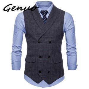 Genuo 2019 Brand Suit Vest Men Jacket Sleeveless Beige Gray Brown Vintage Tweed Vest Fashion Spring Autumn Plus Size Waistcoat