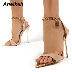 Aneikeh 2021 Summer Thin High Heels Women's Shoes Fashion Sexy Metal Decoratio Cross-Tied Retro Patchwork Head Peep Toe Sandals
