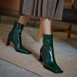 new fashion genuine leather thick high heels platform women ankle boots sexy high heel shoes high quality dress short boots 39