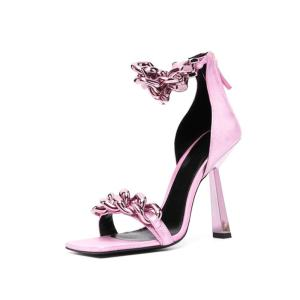 Summer New Style Square Toe Roman Sandals Sexy Metal Decoration Banquet Women's High Heels Sandals for Women 2020