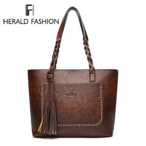 Herald Fashion Large Capacity Causal Shoulder Bags for Women 2018 Fall Leather Fringe Purse Handbags Retro Tassel Shopper Tote