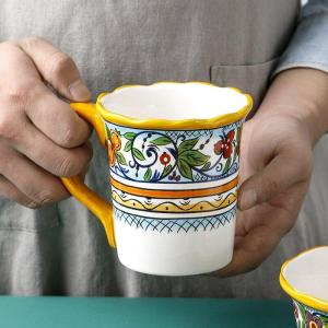 Hand Painted Underglaze Color Craft Ceramics Plate  Yellow Microwave Oven Available Tableware  Plate Cup Bowl Combination