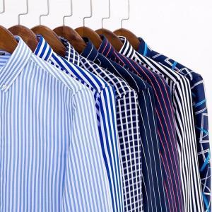 Men Striped Plaid Shirts Casual Long Sleeve Men Slim Fit Thin Business Social Dress Shirt NO Pocket Button Down Fashion Clothing