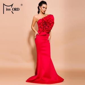 Missord 2021 Women Summer Sexy Off Shoulder Flower Bodycon Dresses Female Solid Color Elegant Maxi Dress FT19608