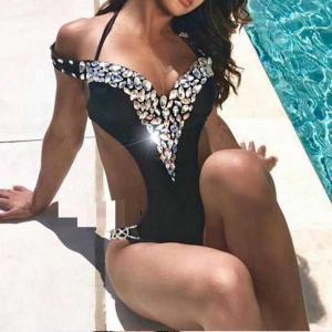 New Women One Piece Swimsuit Crystal Halter Sexy Bathing Monokini Push Up Shiny Bikini Swimwear Deep V Bandage Black
