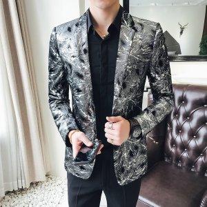 flashlight print velvet blazer men 2018 high quality stylish blazer for mens designer blazer suits jacket stage costumes 5xl