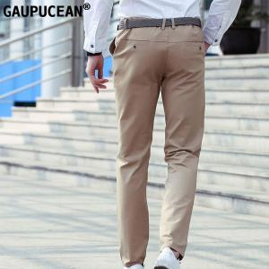 Gaupucean Summer Man Trousers 100% Pure Cotton Black Navy Khaki Straight Casual Spring Autumn Formal Long Full Length Men Pants