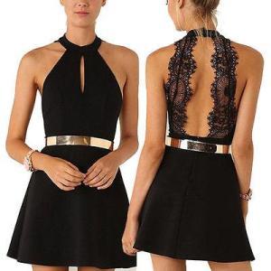 2017 Lace Dresses Women Backless Casual Summer Party Evening Halter Neck Sleeveless Chiffon Short Mini Dress Black Ball Gown