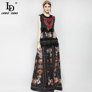 Fashion Runway Maxi Dress Women Floor Length Sleeveless Elegant Rose Flower Print Floral Embroidery Vintage Long Dress