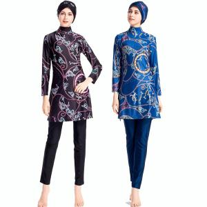 DROZENO Floral Modest Muslim Swimwear Women Islam Three Piece Full Cover Islamic Swimsuit Long Sleeve Hijab Beachwear Plus