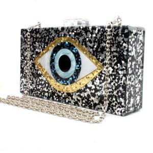 Bling Black Gold Patchwork Glitter Evil Eye Acrylic PVC Plastic Box Day Clutches Summer Travel Evening Handbags Women Beach Bags