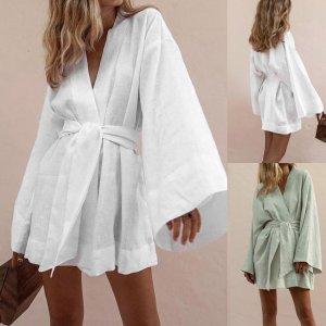 Women Cotton dress Casual Lazy Beach Loose Dress daily easy V Neck Slim Summer Lapel Lace Temperament Elegant dresses robe#ss
