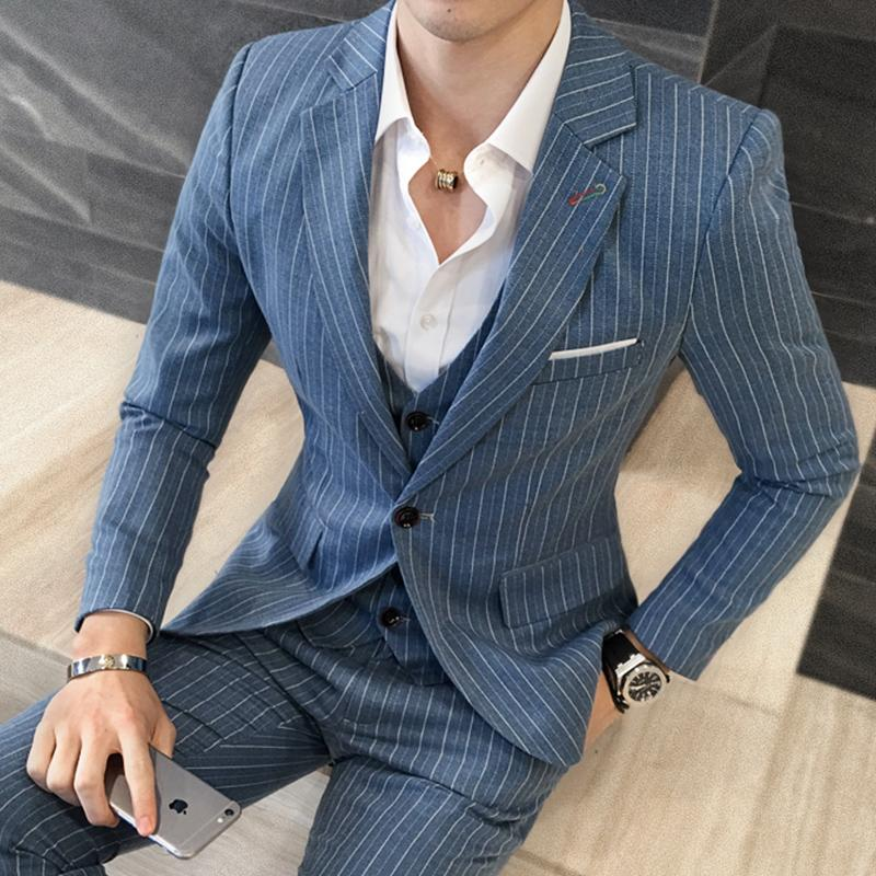 2019 Men's Fashion Boutique Stripe Casual Business Suit Jacket Blazers Luxury Brand Groom's Wedding Male Suit ( 1 Piece Jacket )