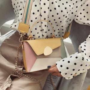 Contrast Color PU Leather Crossbody Bags For Women 2019 Travel Handbag Fashion Simple Shoulder Messenger Bag Lady Crossbody Bags