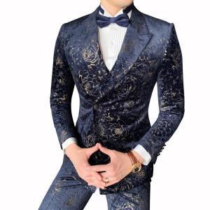 Gentleman Mas Suit Printing Velvet Dinner Full Dress Men Business Social Wedding Smoking Mariage Homme Stylish Prom Jackets Club