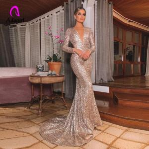 Elegant Long Rose Gold Sequin Evening Party Dress Vestido De Festa Robe Long Sleeve Gowns Formal Party Dress Reflective Dress