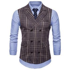 Suit Vest Men 2019 Sleeveless Double Breasted Waistcoat Slim Fit Tweed Gilet Men Business Wedding Classic Blazer Plus Size 4XL