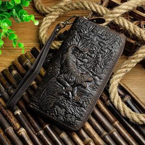 Luxury Brand Male Quality leather Fashion Card Holder Checkbook Zipper Around Organizer Wallet Purse Design Clutch Handbag 1016
