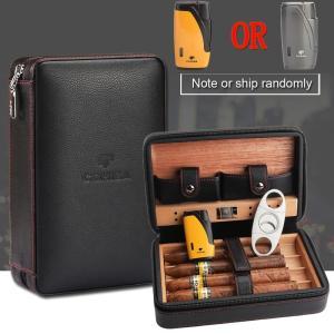 COHIBA Cedar Wood Cigar Humidor Travel Portable Leather Cigar Case Cigars Box With Lighter Cutter Humidifier Humidor Box