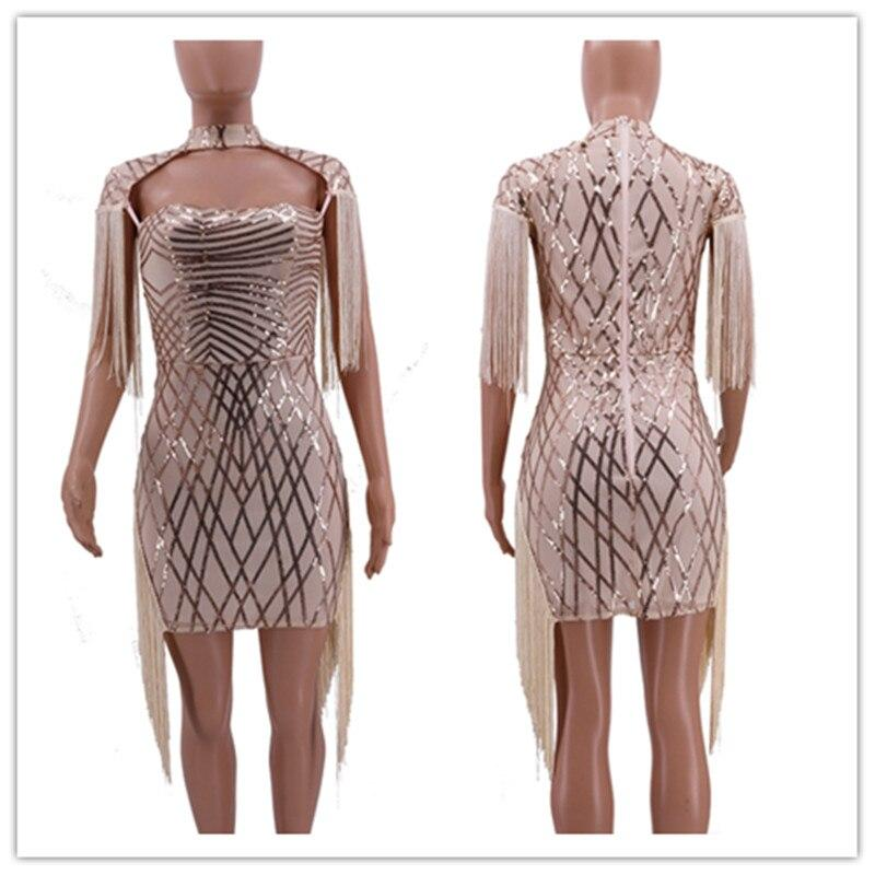 Sexy Sheer Sequins Evening Party Bodycon Summer Mini Dress Women Elegant Short Sleeve Tassel Club dresses Casual bandage Vestido
