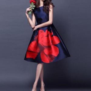 Neophil 2020 Vintage Rose Flower Floral Print Elegant High Waist Ball Gown O Neck Sleeveless Women Midi Dresses Vestidos D08037