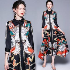 New ins Fashion Runway Designer Summer Autumn A-Line Dress Women Collar Animal Floral Print Vintage Maxi Dresses robe femme