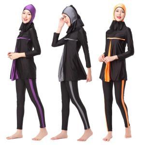 Full Coverage Muslim Swimwear Women Beach Wear Islamic Burkinis Color Block Patchwork Hijab Swimsuit Dubai Bikini Sets VKYY1016