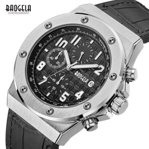 BAOGELA Men's Chronograph Quartz Watches Leather Strap Army Sports Luminous Wristwatch for Man 3Bar Waterproof 1805 Silver black